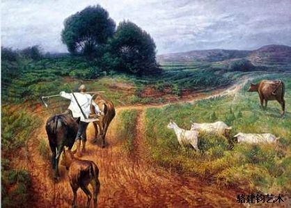 油画《乡间小路》