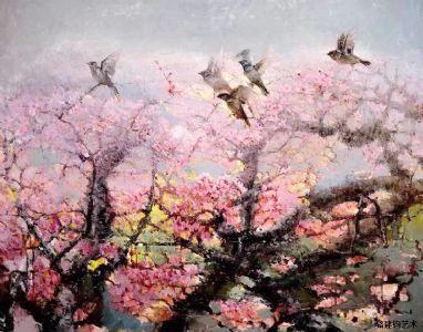 油画《雀跃桃枝》