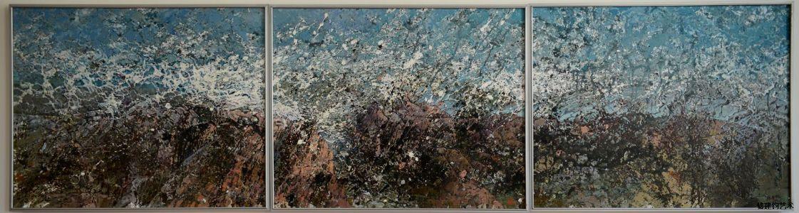 油画《蓝色涛声》300*80cm