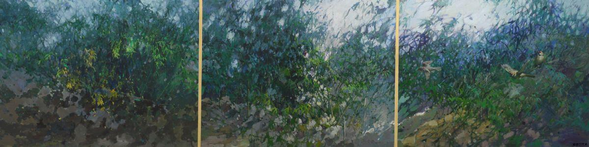 油画《竹丛野趣》