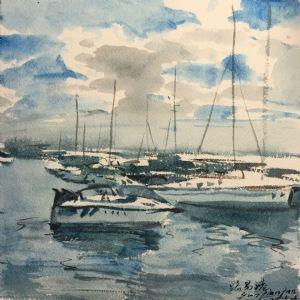 水彩写生《毛里求斯路易港上午》